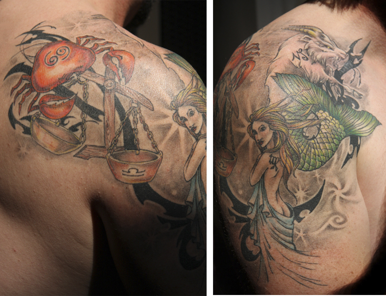 Large shooulder tattoo combining four zodiac signs